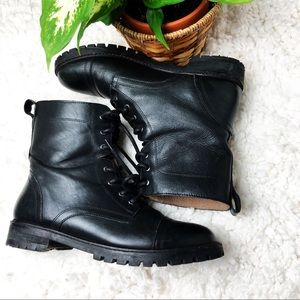 H & M | genuine leather combat boots 9.5